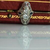 Antique Vintage Diamond 14k White Gold Over Filigree Navette Art Deco Ring 1905