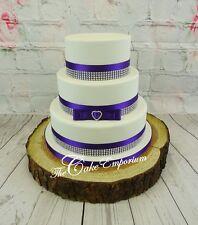 WEDDING CAKE CADBURY PURPLE DIAMANTE TOPPERS MR & MRS LOVE HEARTS CAKE SETS