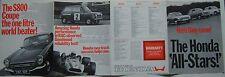 Honda Gama N360 N600 S800 1968-69 original del Reino Unido folleto de ventas