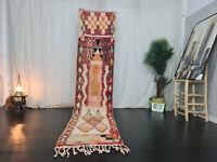 """Boujaad Handmade Moroccan Runner Rug 2'3""""x10'6"""""""" Berber Geometric Red Wool Rug"""