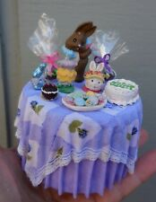 DOLLHOUSE MINIATURE ~ EASTER TABLE WITH BUNNIES, EGGS, COOKIES & CAKE