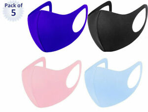 Pack of 5 Adult Face Mask Black Reusable Washable Breathable Dust Mouth Cover