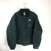 Vintage CARHARTT Black Insulated Lined Jacket Mens XL USA Made Coat Zip Work