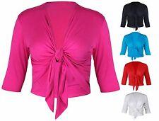 New Ladies Half Sleeve Tie Shrug Womens Jersey Bolero Cardigan Top Size 12 - 26