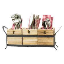Boston Warehouse Wood & Metal Flatware Caddy
