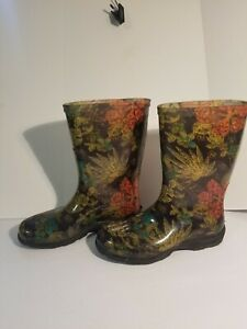 Sloggers Size 7 Black Floral Mid Calf Rain and Garden Waterproof Boots Made USA