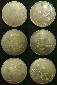 GERMANY SILVER 5 Deutsche Mark 1951 to 1974 (625 fine - 11.2g) DISCOUNTS to 30%