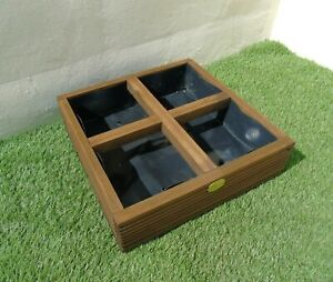 Square Single Layer Brown Decking Herb Planter With Divider Lined Garden Flower