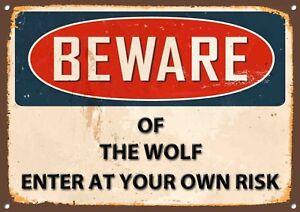 Beware of the Wolf Metal Sign Vintage Home Wall Door Plaque 1221