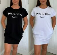 Womens Ladies Die For Dior Slogan Print Baggy Oversized T-Shirt Dress Blouse Top