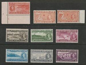CANADA NEWFOUNDLAND 1937 GEORGE VI CORONATION PERF 13 COMB x9 STAMPS x8 VALUES