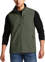 TSLA Men's Sleeveless Softshell Vest, Outdoor Full-Zip Windbreaker Vest