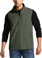 TSLA Men's Sleeveless Softshell Vest, Outdoor Full-Zip Windbreaker Vest