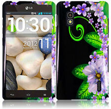 For AT&T LG Optimus G E970 HARD Case Snap On Phone Cover Black Purple Flowers