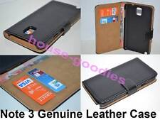 Black Genuine Leather Wallet Card Case Cover Stand for Samsung Galaxy Note 3