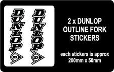 2 X DUNLOP OUTLINE MOTORBIKE FORK STICKERS /ANY COLOUR