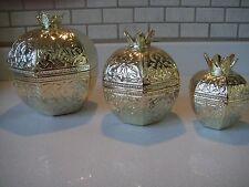 Decorative Solid Copper Zamac Pomegranate Sugar Bowl Authentic Gold Colour