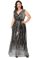 New-Black Chiffon Silver Sequin Maxi Evening Dress-Party/Dance/Prom-Curve 18