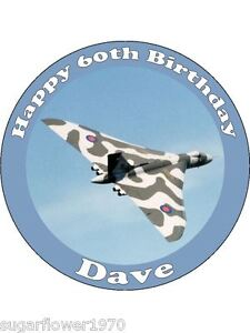 Personalised Vulcan Bomber Royal Air Force edible icing birthday cake topper