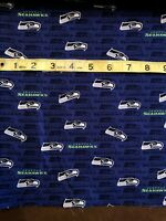 """Seattle Seahawks 100% Cotton Fabric Blue - Sold By 1/2 Yard 18"""" x 58"""""""