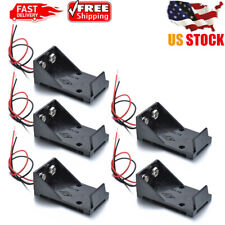 5Pcs Plastic Battery Holder Storage Case Box with 12ft Wire Leads 2 x AA 9V