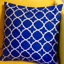 CLEARANCE Blue Moroccan Quatrefoil Cushion Cover Linen 18'' 45cm Double-Sided