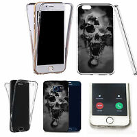 360° Silicone gel full body Case Cover for many mobiles - black holed skull.