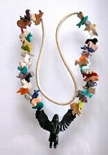 "Napi Eagle Woman Indian Figure Assorted Figures Carved 40"" Fetish Necklace FN11"