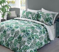 Sleepdown PALM LEAF Polycotton Reversible Duvet Cover Set with Pillowcases