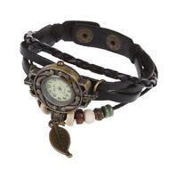 Uhr Schmuck Leder Armbanduhr Armreif Damenuhr Quarzuhr Blatt Schwarz O7N6 D5A1