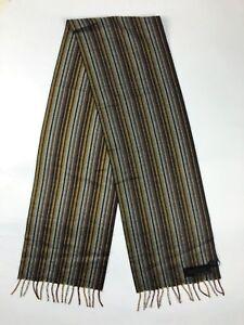 PRADA Brown Burgundy Yellow Gray Striped Cashmere Silk Fringed Scarf NWT