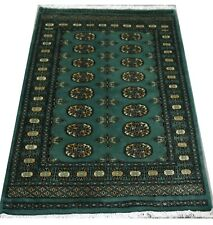 Bokhara Rug in Dark Green Original Hand Knotted Oriental Wool Rug 95x154cm -SALE