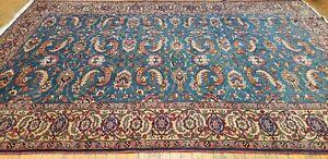 Exquisite Vintage 1950-1960's Wool Pile Teal Blue Turqoise Legendary Hereke Rug
