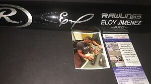Eloy Jimenez Chicago White Sox Autographed Signed Engraved Bat JSA COA Black A