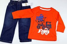2pc Boys Kids Headquarters Tractor Top Hoodie Sweater Jeans Pants 12 mths New