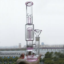 Pink Glass Water Pipe Smoking Tobacco Hookah Honeycomb Recycle Bong in Stock