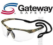Gateway Conqueror CAMO Clear Anti Fog Safety Glasses Camouflage W Cord Z87+ Z94+