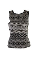 Vince Camuto Black White Sleeveless Tribal-Print Top M