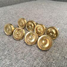 "8 Vintage 60s? Round Brass Gold Tone Drawer Pulls Knobs Metal Distressed 1 3/8"""