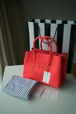 NEW AUTHENTIC ANYA HINDMARCH TEXTURED LEATHER EBURY NEON CORAL TOTE SMILEY BAG