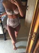 Beach Riot High Waisted Palm Print Bikini Size 6-8 XS BNWT Bandeau With Zip