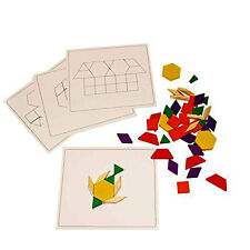 Kids 120 Pieces Wooden Blocks And Pattern Board Set Educational Puzzle Board Toy