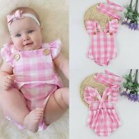 Newborn Infant Kids Baby Girls Romper Jumpsuit Headband Outfits Sunsuit Clothes