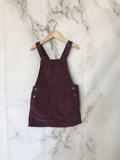 vertbaudet Girls Overall Dress Size 5/6 Years Purple Corduroy Snap Button