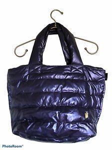 Rootote Fun Outing Purple Medium Tote Puffer Bag Feather-Deli