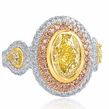 GIA Certified 3.69Ct Light Yellow VS2 Oval Cut Pear Side Diamond Engagement Ring