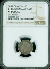 1891 21 LEAVES SMALL DATE CANADA  SILVER 10 CENTS NGC VF-30 *