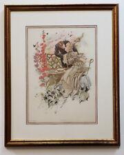 "1906 Harrison FISHER Victorian LADY Art Print ""GATHERING HONEY""  Framed 24""x19"""