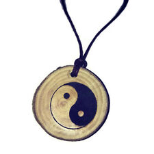 Yin Yang Earth Chinese Peace Symbol  Necklace Charm Wooden Handmade Engraved