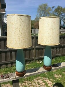 Mid Century Modern Raymor Turquoise Ceramic Teak Base Giraffe Table Lamps Pair